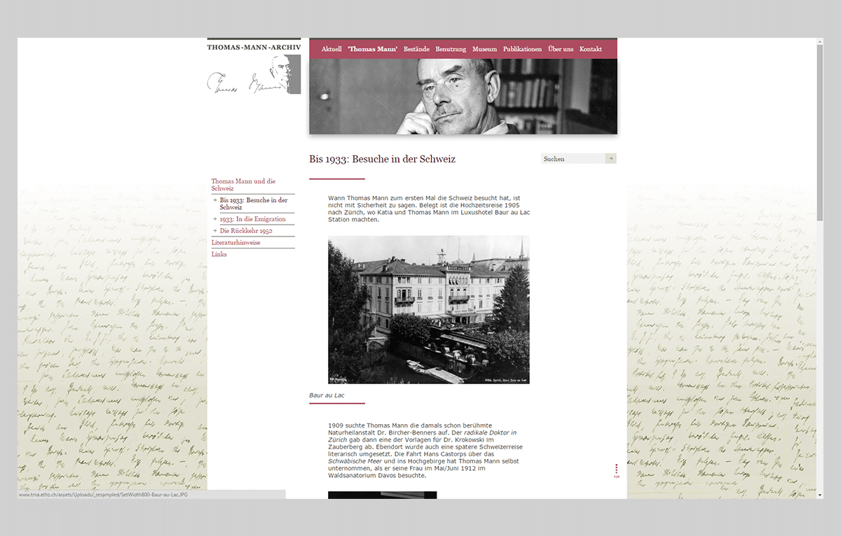 Website Thomas-Mann-Archiv Zürich