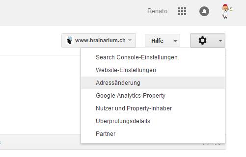 Änderungs der Domain anmelden