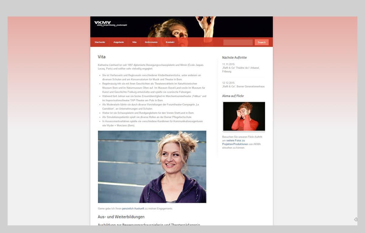 Screenshot Website AKMA – Atelier für Körpertheater und Maskenspiel