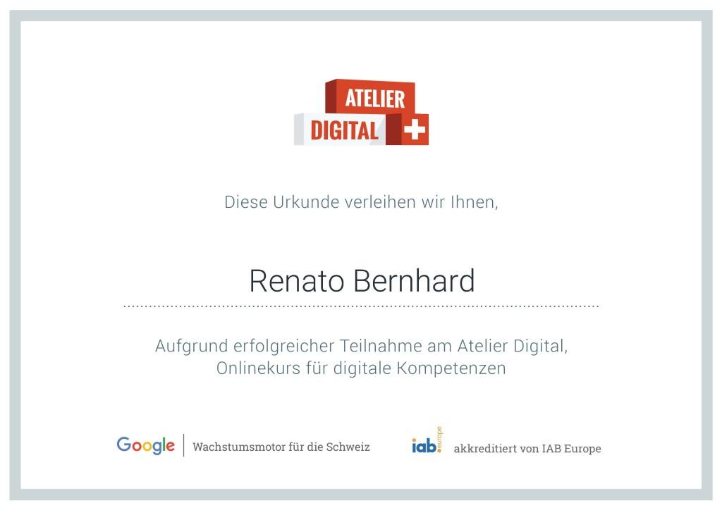 Zertifikat Atelier Digital
