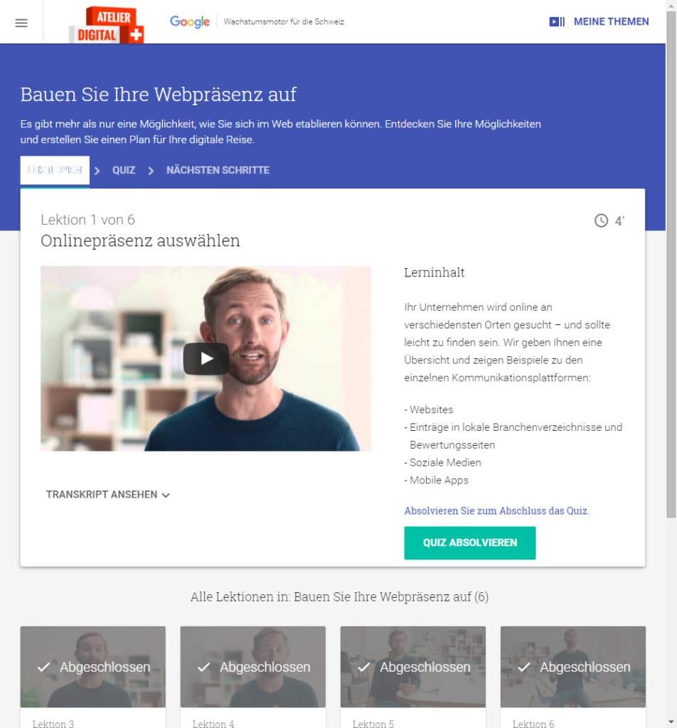 Lernen mit dem Atelier Digital von Google