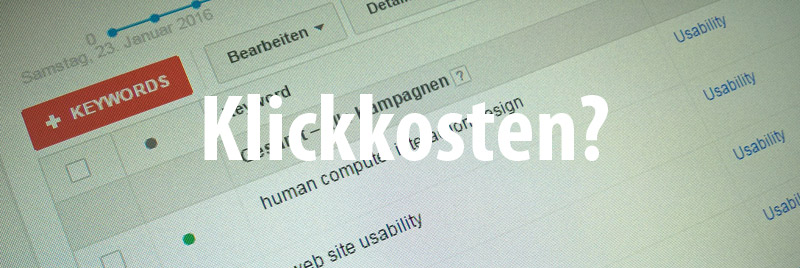 Klickkosten Adwords