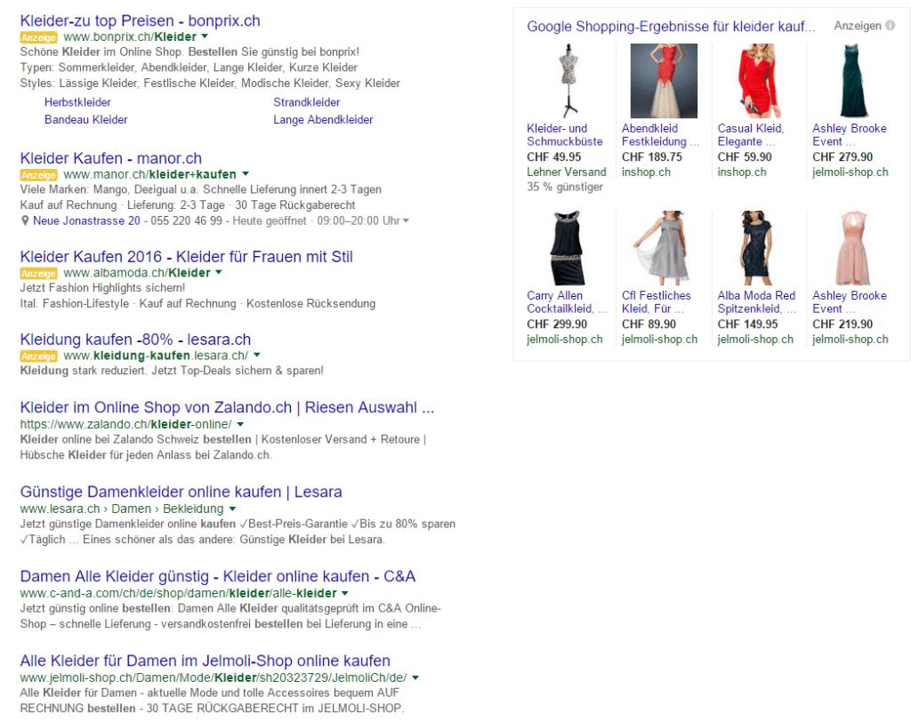 Suchergebnisseite mit neuer Ansicht - max. 4 Adwords-Anzeigen im oberen Bereich
